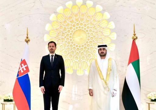 مكتوم بن محمد يبحث فرص الاستثمار مع رئيس وزراء سلوفاكيا
